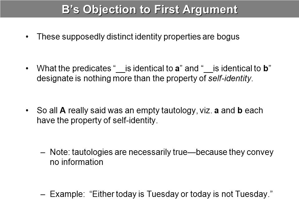 """B's Objection to First Argument These supposedly distinct identity properties are bogus What the predicates """"__is identical to a"""" and """"__is identical"""