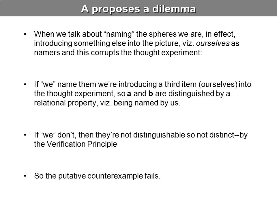 """A proposes a dilemma When we talk about """"naming"""" the spheres we are, in effect, introducing something else into the picture, viz. ourselves as namers"""