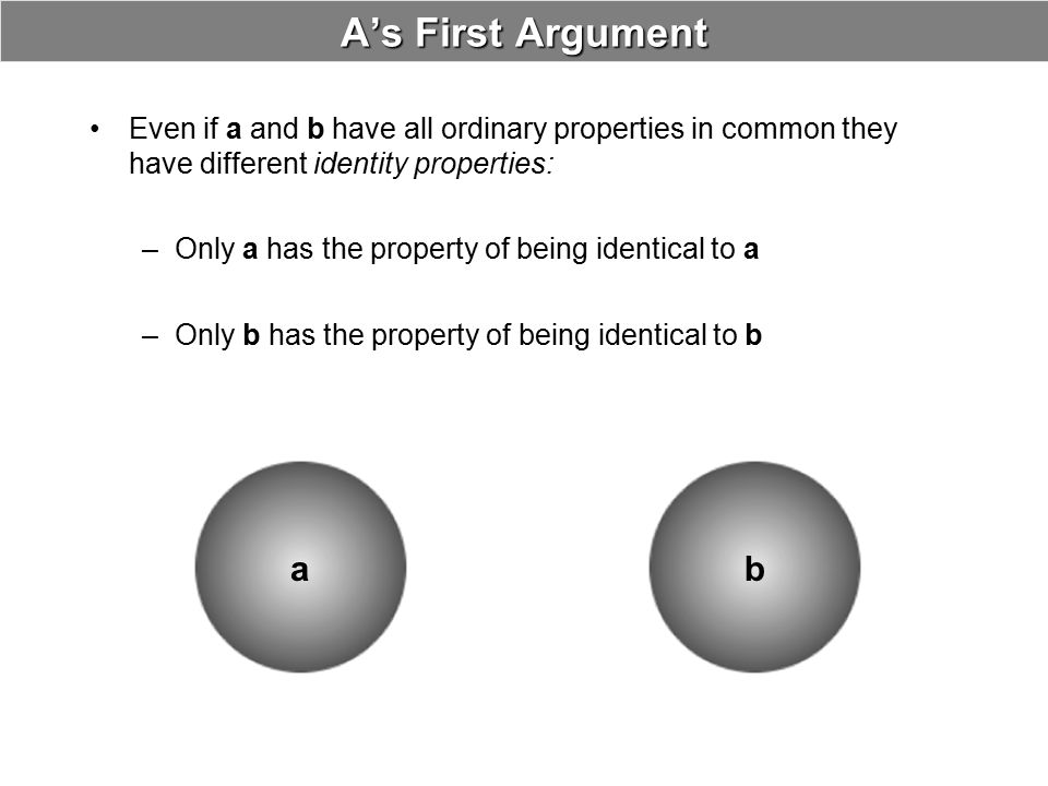 B's Objection to First Argument These supposedly distinct identity properties are bogus What the predicates __is identical to a and __is identical to b designate is nothing more than the property of self-identity.