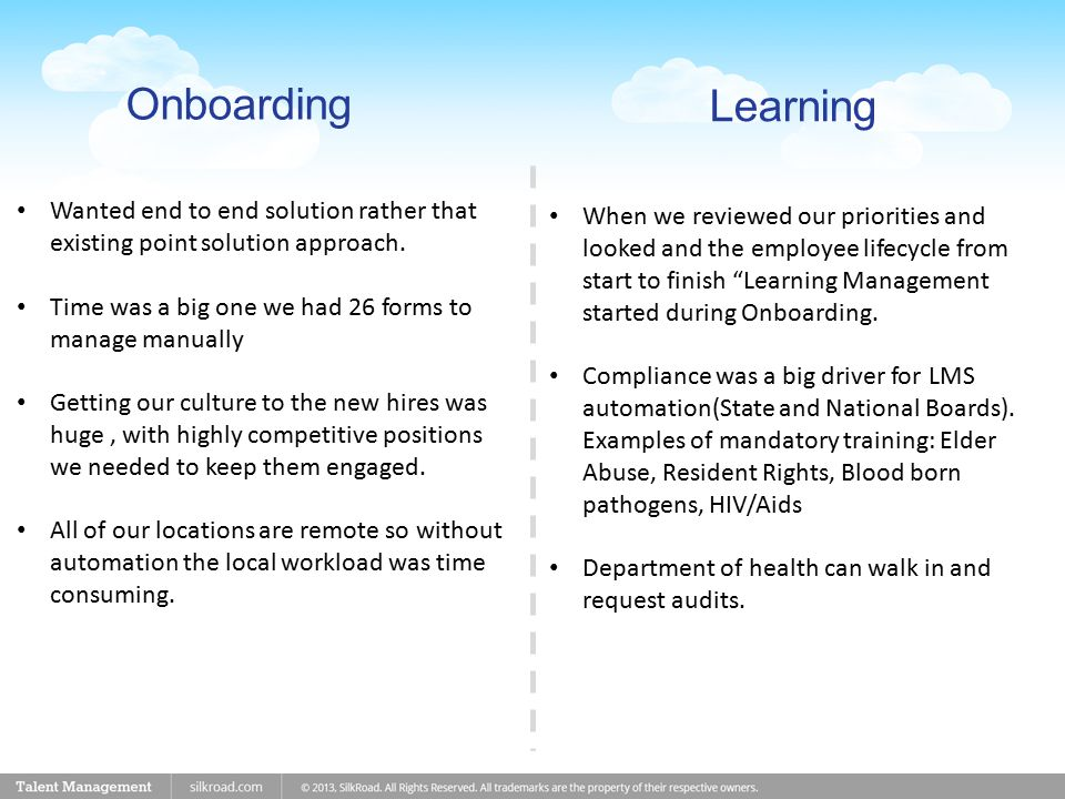 Learning Onboarding Wanted end to end solution rather that existing point solution approach.