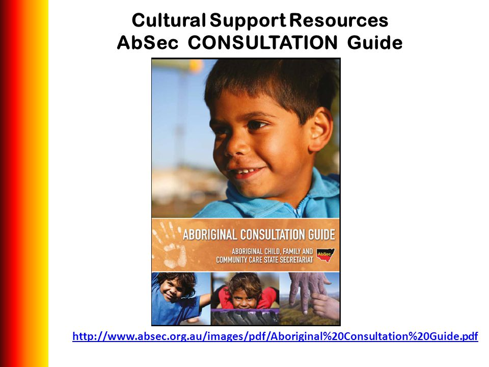 http://www.absec.org.au/images/pdf/Aboriginal%20Consultation%20Guide.pdf Cultural Support Resources AbSec CONSULTATION Guide