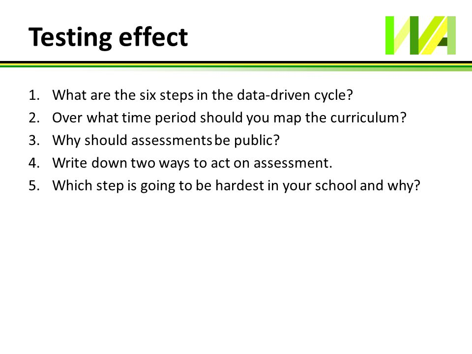 Testing effect 1.What are the six steps in the data-driven cycle? 2.Over what time period should you map the curriculum? 3.Why should assessments be p