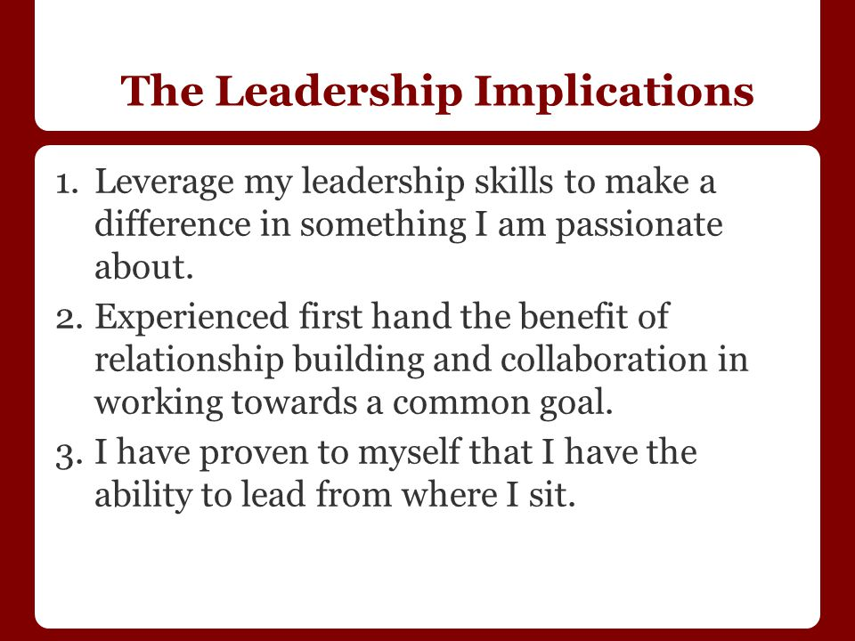 The Leadership Implications 1.Leverage my leadership skills to make a difference in something I am passionate about.