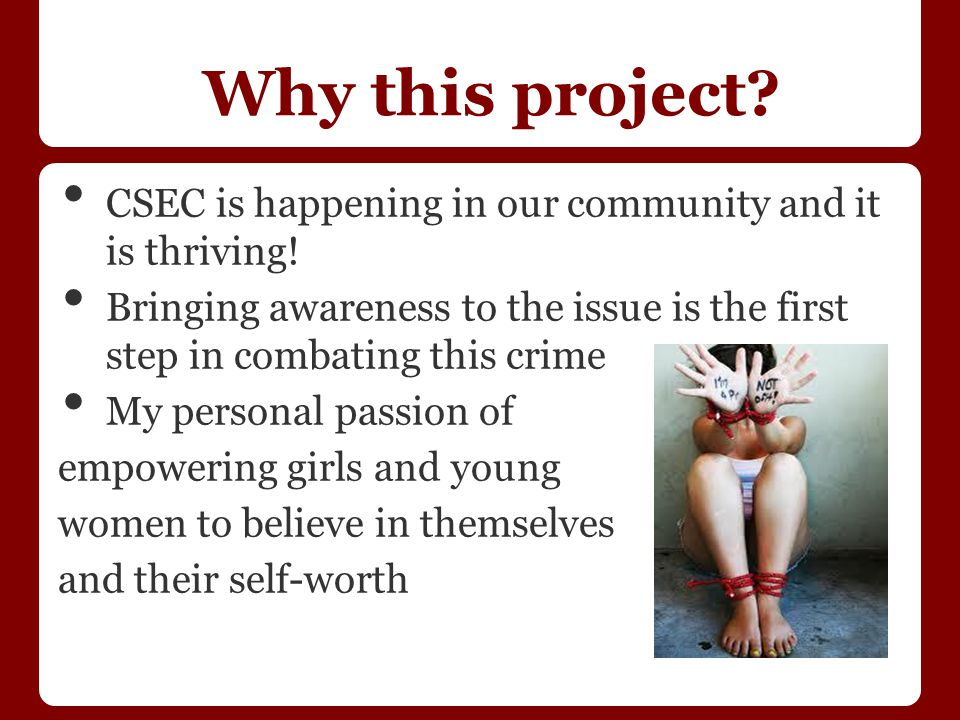 Project Process Extensive literature review Interviewed 5 local professionals working in the CSEC arena Interviewed a former Portland CSEC victim