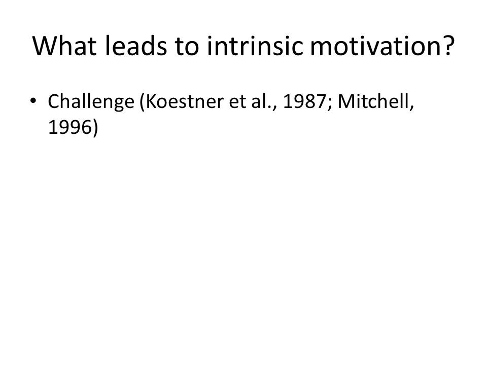 What leads to intrinsic motivation? Challenge (Koestner et al., 1987; Mitchell, 1996)