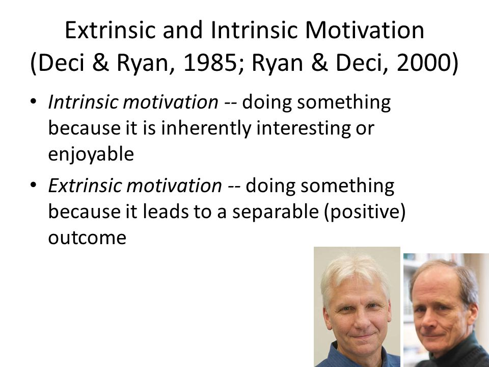 Extrinsic and Intrinsic Motivation (Deci & Ryan, 1985; Ryan & Deci, 2000) Intrinsic motivation -- doing something because it is inherently interesting