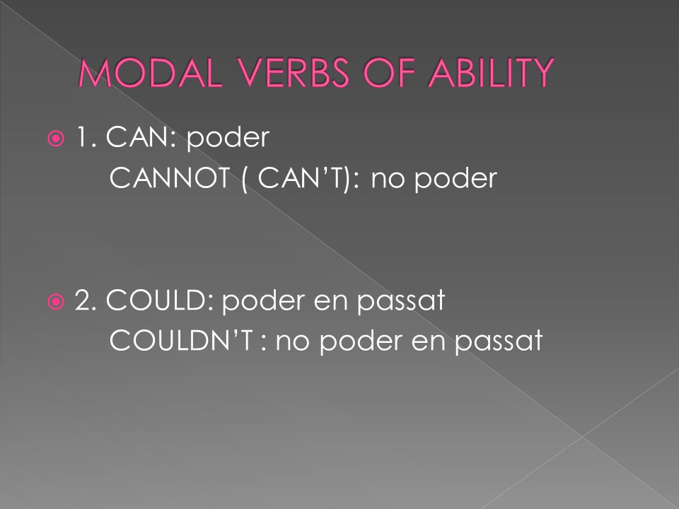  Modal Verbs are special Verbs that behave differently from normal verbs.
