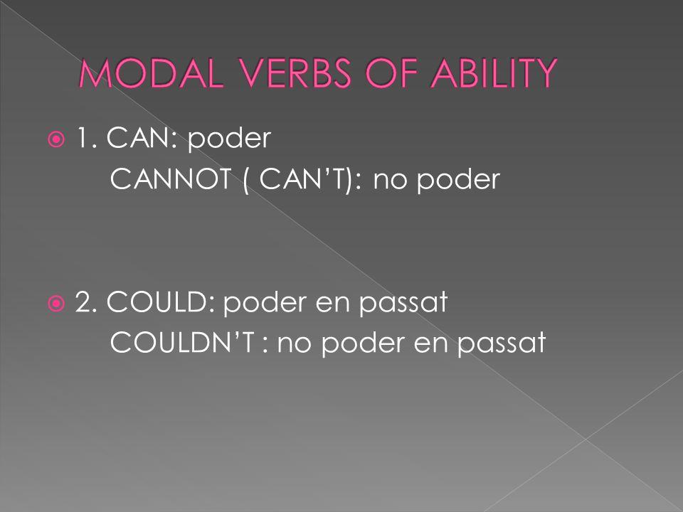  1. CAN: poder CANNOT ( CAN'T): no poder  2. COULD: poder en passat COULDN'T : no poder en passat