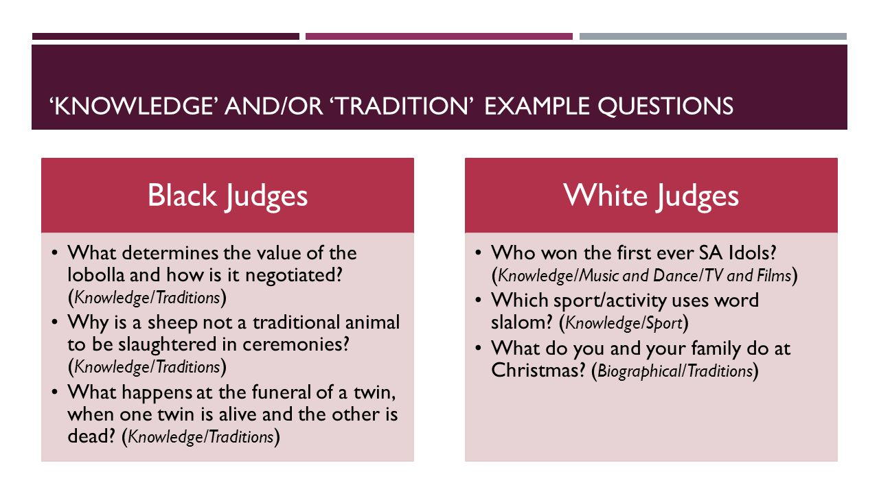 'KNOWLEDGE' AND/OR 'TRADITION' EXAMPLE QUESTIONS Black Judges What determines the value of the lobolla and how is it negotiated.