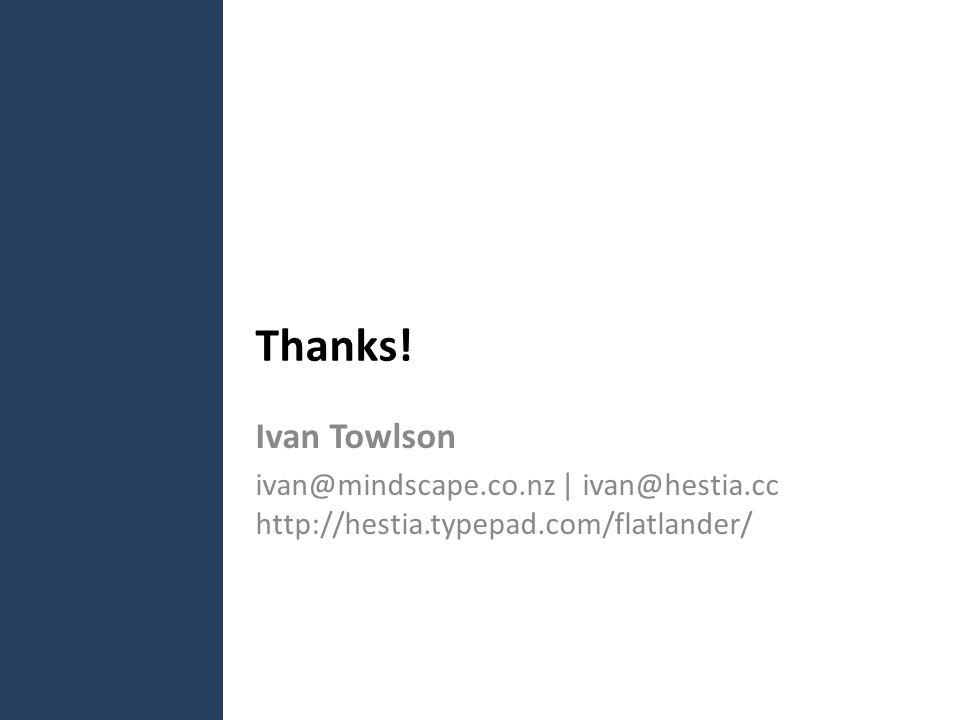 Thanks! Ivan Towlson ivan@mindscape.co.nz | ivan@hestia.cc http://hestia.typepad.com/flatlander/
