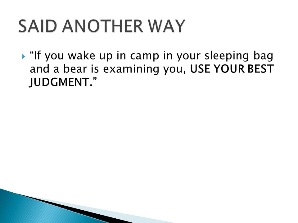 """ """"If you wake up in camp in your sleeping bag and a bear is examining you, USE YOUR BEST JUDGMENT."""""""