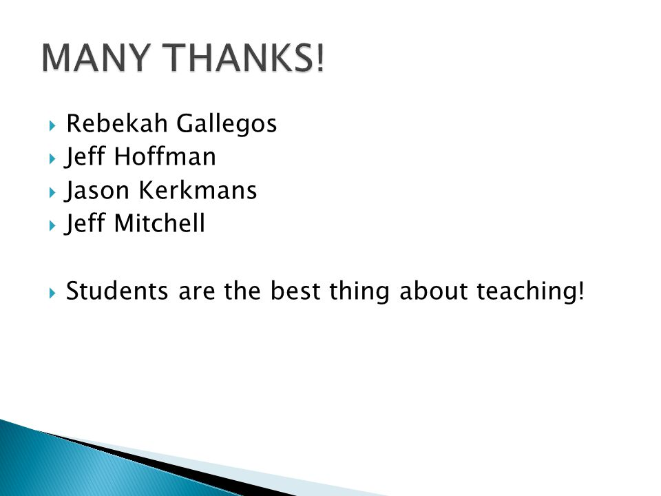  Rebekah Gallegos  Jeff Hoffman  Jason Kerkmans  Jeff Mitchell  Students are the best thing about teaching!