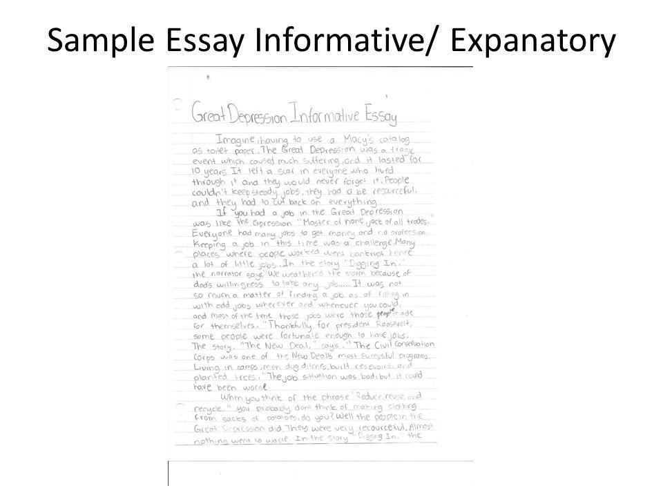 Sample Essay Informative/ Expanatory