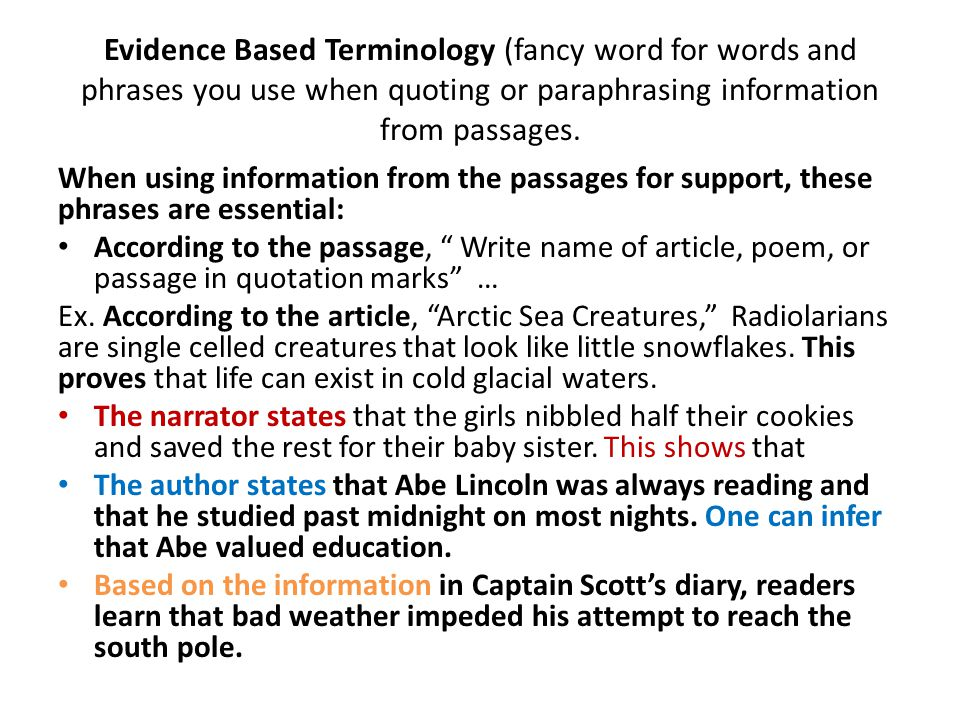 Evidence Based Terminology (fancy word for words and phrases you use when quoting or paraphrasing information from passages.