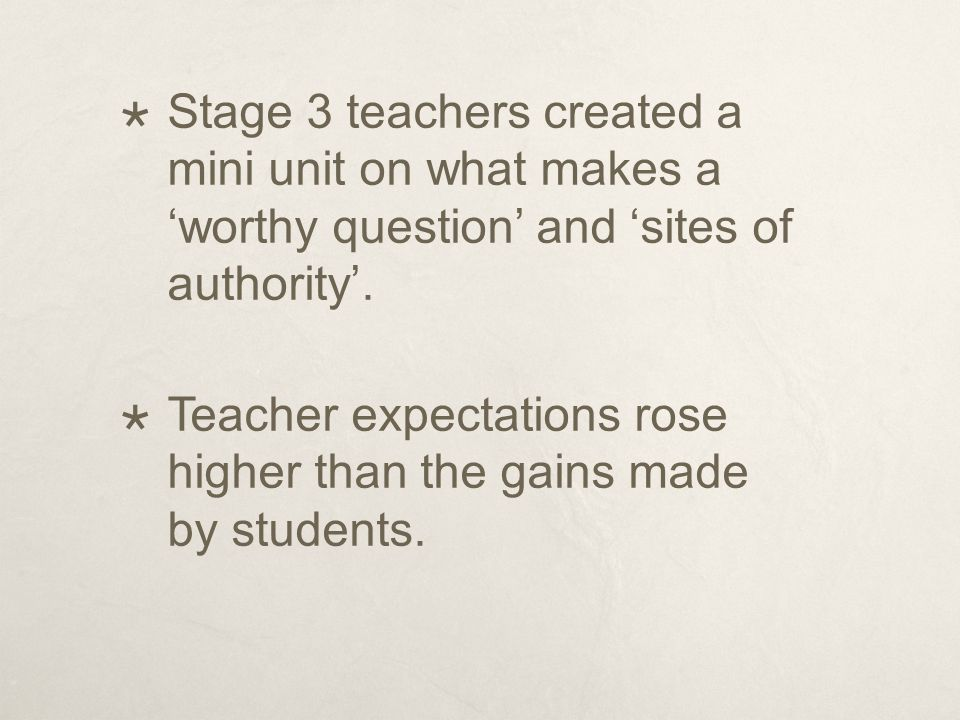  Stage 3 teachers created a mini unit on what makes a 'worthy question' and 'sites of authority'.  Teacher expectations rose higher than the gains m