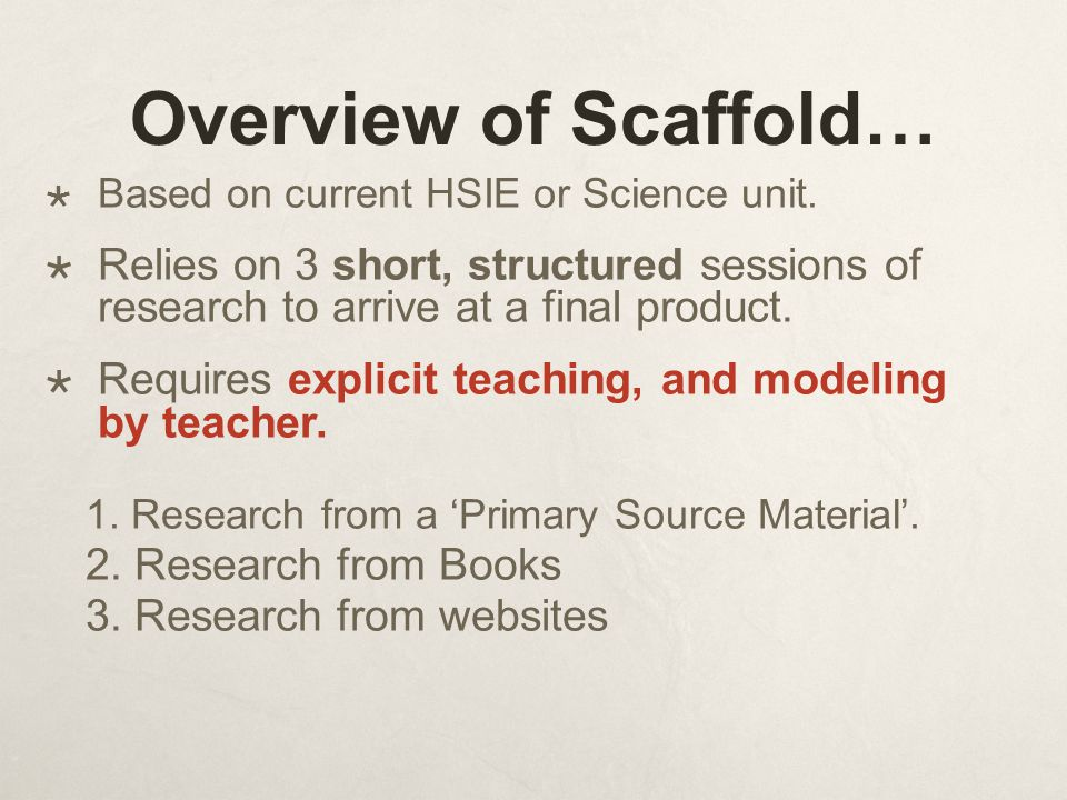 Overview of Scaffold…  Based on current HSIE or Science unit.  Relies on 3 short, structured sessions of research to arrive at a final product.  Re
