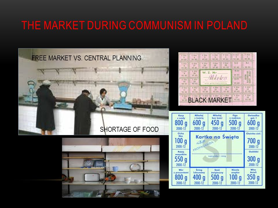 THE MARKET DURING COMMUNISM IN POLAND SHORTAGE OF FOOD BLACK MARKET FREE MARKET VS.