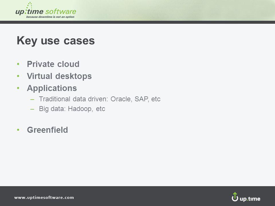 www.uptimesoftware.com Key use cases Private cloud Virtual desktops Applications –Traditional data driven: Oracle, SAP, etc –Big data: Hadoop, etc Greenfield
