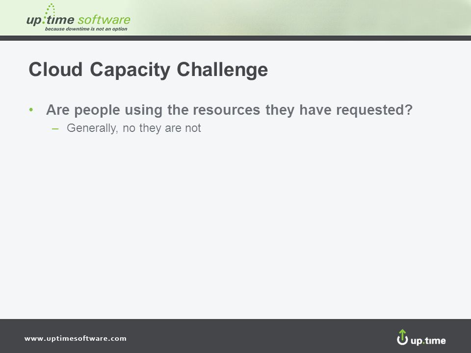 www.uptimesoftware.com Cloud Capacity Challenge Are people using the resources they have requested.