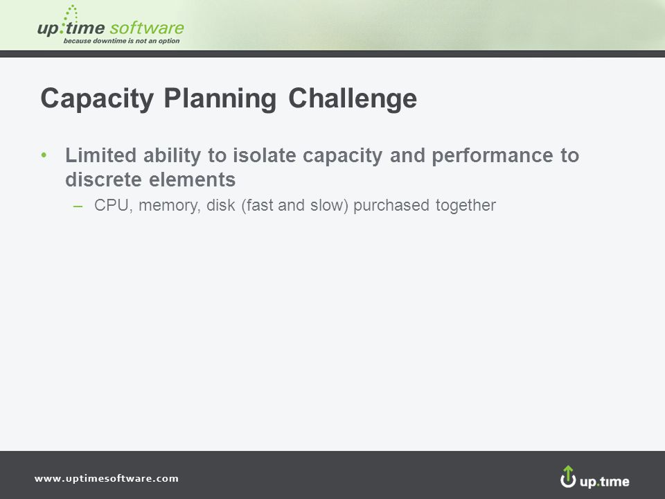 www.uptimesoftware.com Capacity Planning Challenge Limited ability to isolate capacity and performance to discrete elements –CPU, memory, disk (fast and slow) purchased together