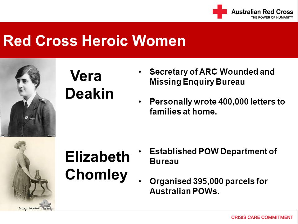 Secretary of ARC Wounded and Missing Enquiry Bureau Personally wrote 400,000 letters to families at home.