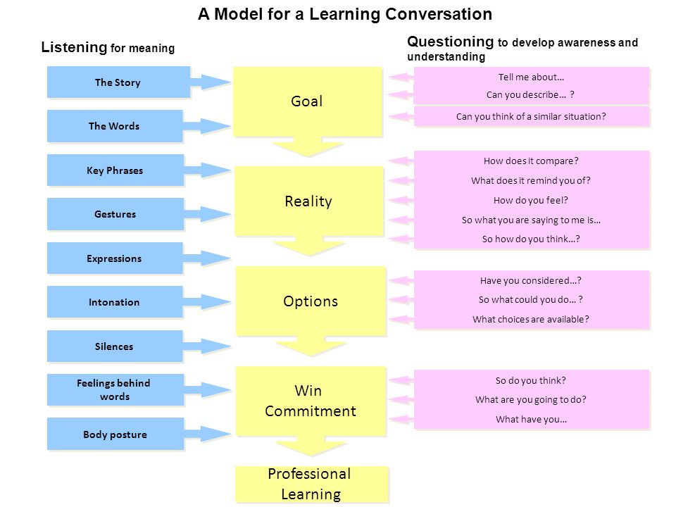 A Model for a Learning Conversation The Story Listening for meaning Questioning to develop awareness and understanding Tell me about… The Words Professional Learning Key Phrases Gestures Expressions Intonation Silences Feelings behind words Body posture Can you describe… .