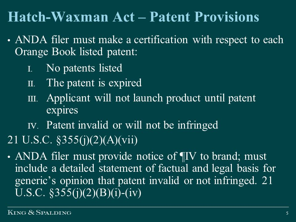 Hatch-Waxman Act – Patent Provisions Filing ANDA with ¶IV certification is artificial act of infringement for purposes of creating case or controversy jurisdiction.