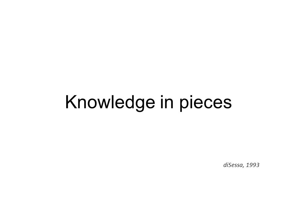 Knowledge in pieces diSessa, 1993