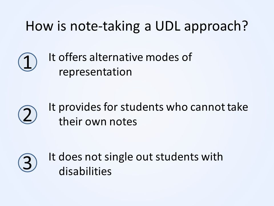 How is note-taking a UDL approach? It offers alternative modes of representation It provides for students who cannot take their own notes It does not