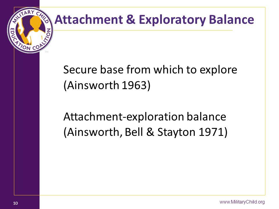 Attachment & Exploratory Balance Secure base from which to explore (Ainsworth 1963) Attachment-exploration balance (Ainsworth, Bell & Stayton 1971) www.MilitaryChild.org 10