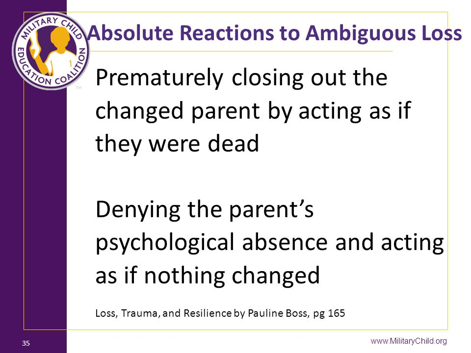www.MilitaryChild.org 35 Absolute Reactions to Ambiguous Loss Prematurely closing out the changed parent by acting as if they were dead Denying the pa