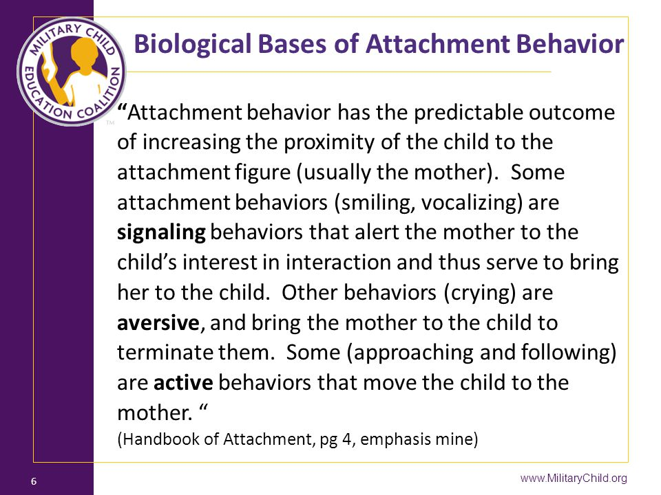 "Biological Bases of Attachment Behavior ""Attachment behavior has the predictable outcome of increasing the proximity of the child to the attachment fi"