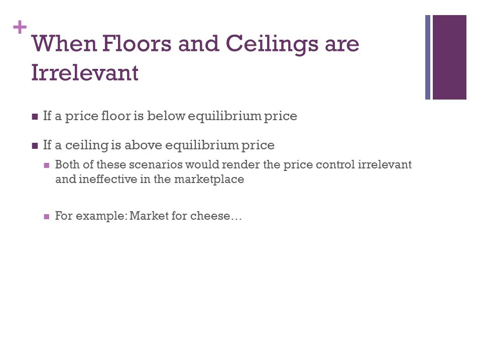 + When Floors and Ceilings are Irrelevant If a price floor is below equilibrium price If a ceiling is above equilibrium price Both of these scenarios