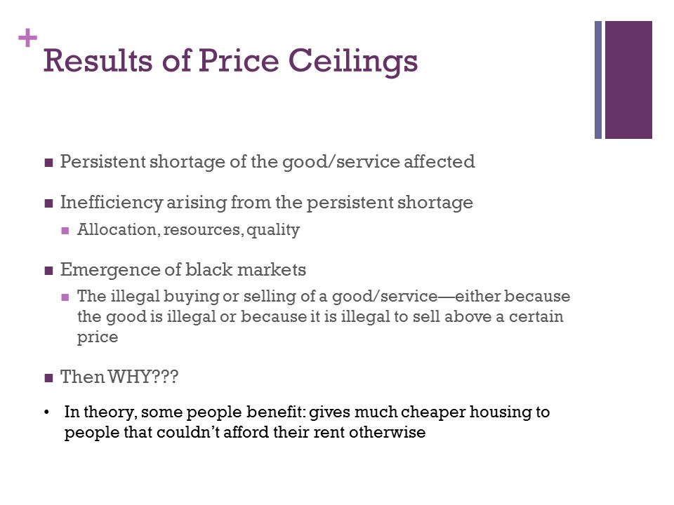+ Results of Price Ceilings Persistent shortage of the good/service affected Inefficiency arising from the persistent shortage Allocation, resources,