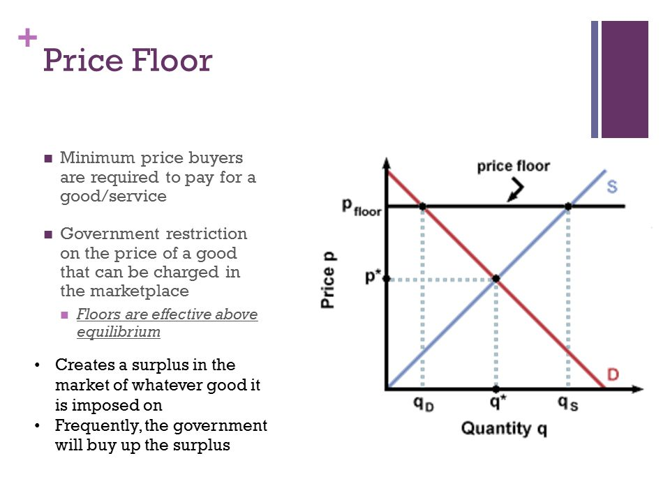+ Price Floors Create Inefficiency Inefficiently Low Quantity: Reduced quantity demanded (surplus)—sellers cannot sell if buyers will not buy.