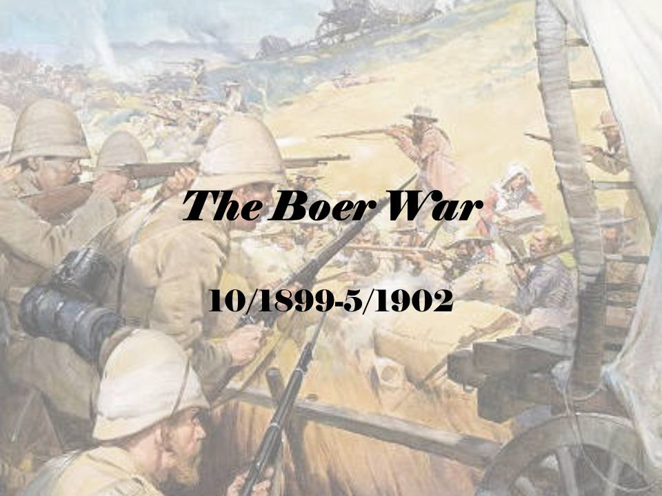 BACKGROUND: Culmination of a century of conflict between Dutch settlers and British settlers/crown/empire  Dutch forced north by Brits 1834 (Great Trek)  First Boer War 1880-81 (Boer victory!) More gold & diamond mines found in region  Increasing # of Brits in Transvaal & Orange Free State Brits wanted more control of region; Afrikaners resented (Pssst.