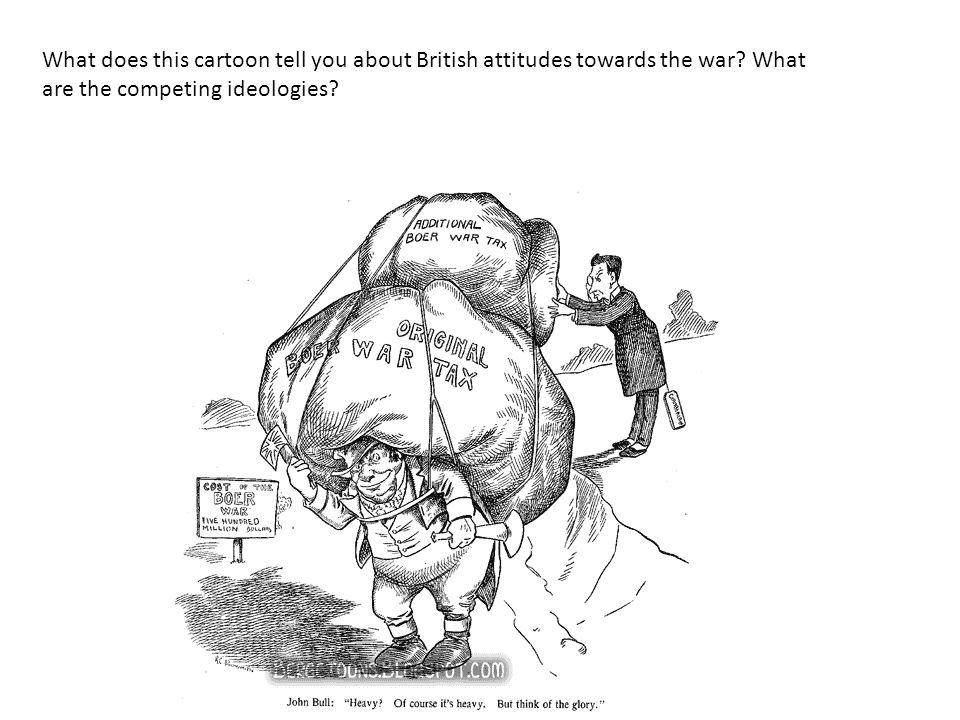 What does this cartoon tell you about British attitudes towards the war? What are the competing ideologies?