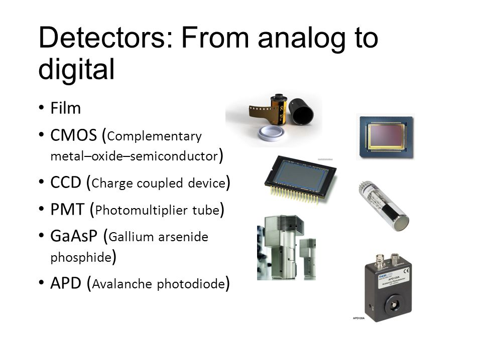 Detectors: From analog to digital Film CMOS ( Complementary metal–oxide–semiconductor ) CCD ( Charge coupled device ) PMT ( Photomultiplier tube ) GaAsP ( Gallium arsenide phosphide ) APD ( Avalanche photodiode )