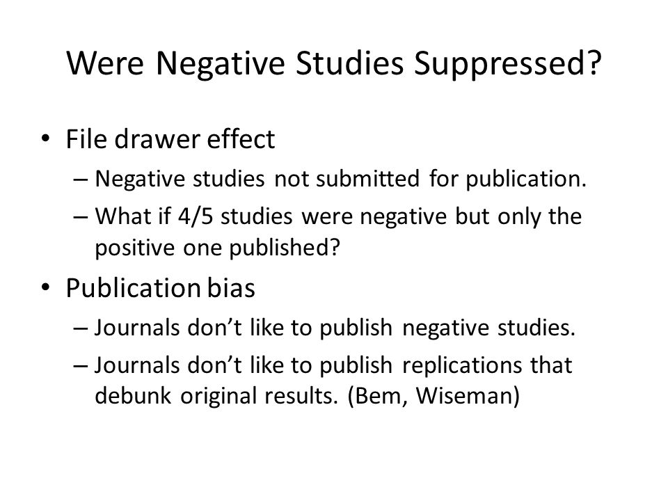 Were Negative Studies Suppressed.