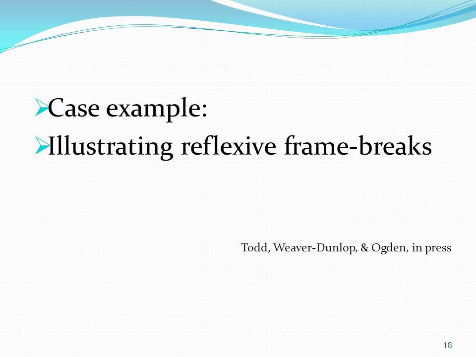  Case example:  Illustrating reflexive frame-breaks Todd, Weaver-Dunlop, & Ogden, in press 18