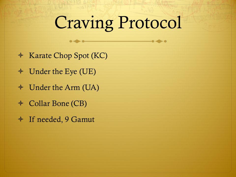 Craving Protocol  Karate Chop Spot (KC)  Under the Eye (UE)  Under the Arm (UA)  Collar Bone (CB)  If needed, 9 Gamut