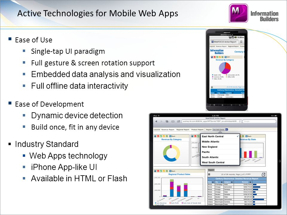 Active Technologies for Mobile Web Apps  Ease of Use  Single-tap UI paradigm  Full gesture & screen rotation support  Embedded data analysis and visualization  Full offline data interactivity  Ease of Development  Dynamic device detection  Build once, fit in any device  Industry Standard  Web Apps technology  iPhone App-like UI  Available in HTML or Flash