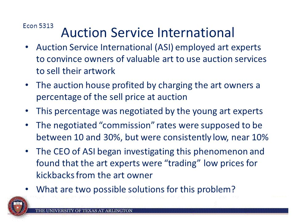 Auction Service International Auction Service International (ASI) employed art experts to convince owners of valuable art to use auction services to s