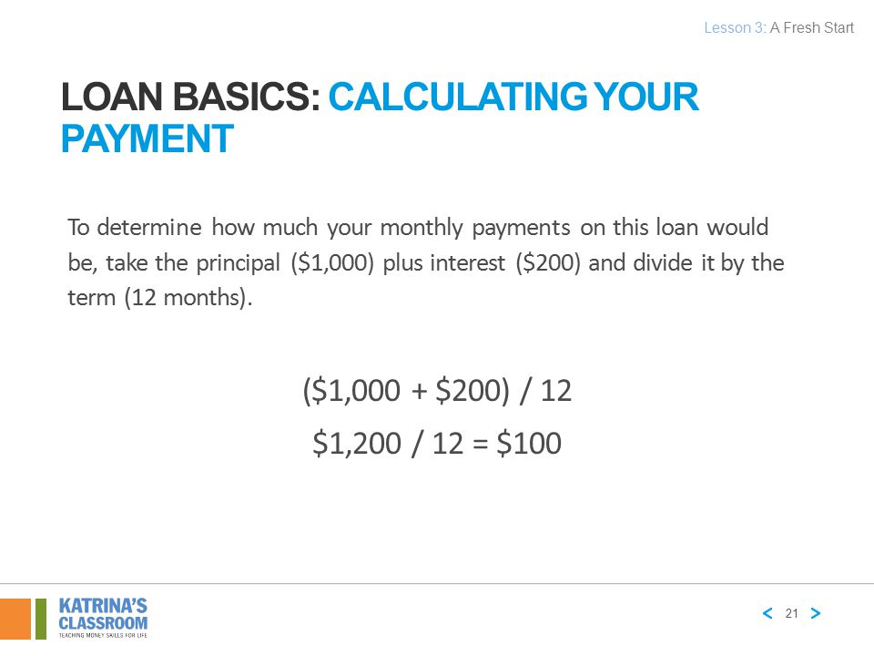 LOAN BASICS: CALCULATING YOUR PAYMENT To determine how much your monthly payments on this loan would be, take the principal ($1,000) plus interest ($2