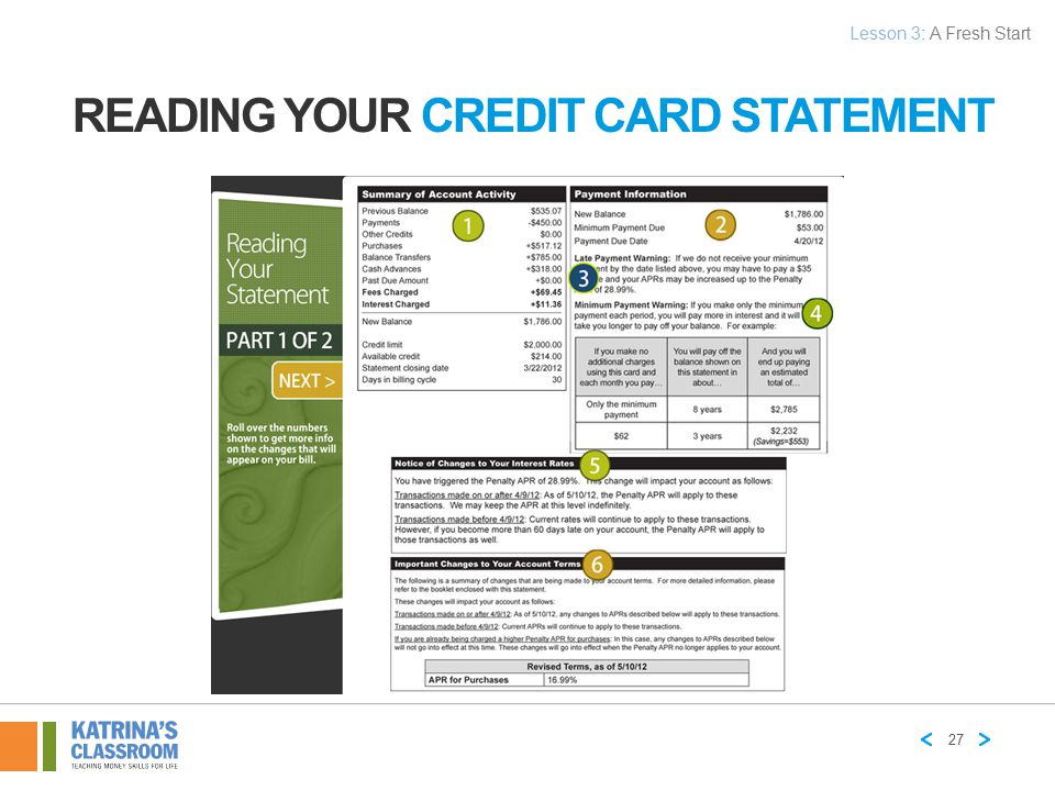 READING YOUR CREDIT CARD STATEMENT 27 Lesson 3: A Fresh Start