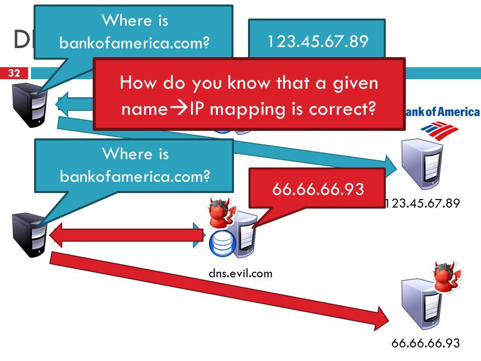 dns.bofa.com DNS Spoofing 32 123.45.67.89 Where is bankofamerica.com.