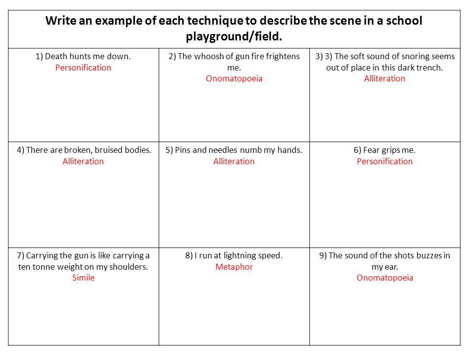 Write an example of each technique to describe the scene in a school playground/field. 1) Death hunts me down. Personification 2) The whoosh of gun fi