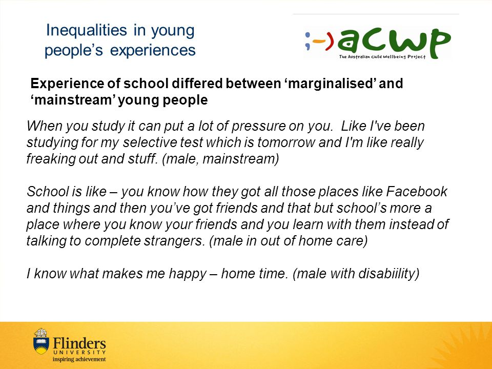 Inequalities in young people's experiences Experience of school differed between 'marginalised' and 'mainstream' young people When you study it can put a lot of pressure on you.