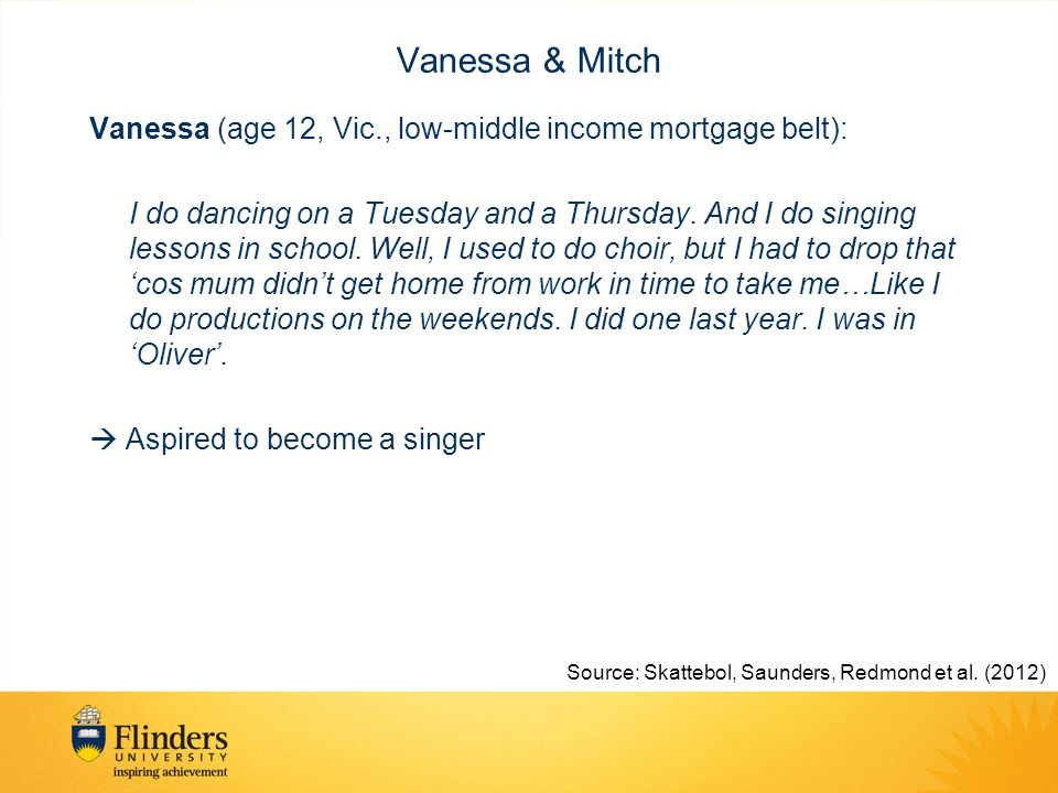 Vanessa & Mitch Vanessa (age 12, Vic., low-middle income mortgage belt): I do dancing on a Tuesday and a Thursday.