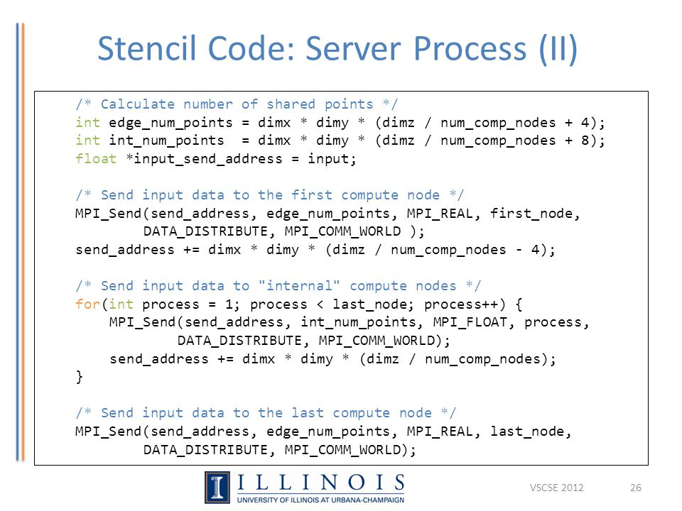 Stencil Code: Server Process (II) 26 /* Calculate number of shared points */ int edge_num_points = dimx * dimy * (dimz / num_comp_nodes + 4); int int_
